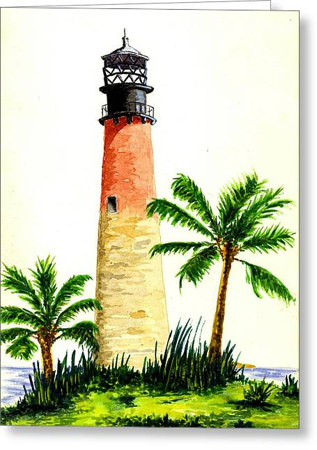 Cape Florida Lighthouse Greeting Card by Michael Vigliotti