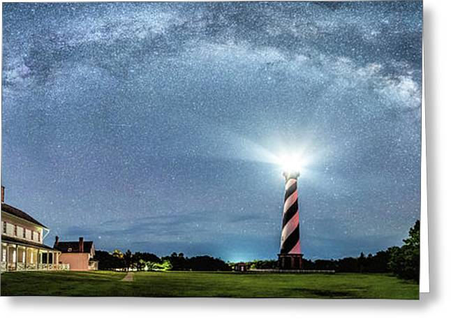Cape Hatteras Light House Milky Way Panoramic Greeting Card