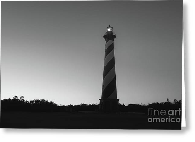 Cape Hatteras Light Silhouette Sunrise Bw  Greeting Card