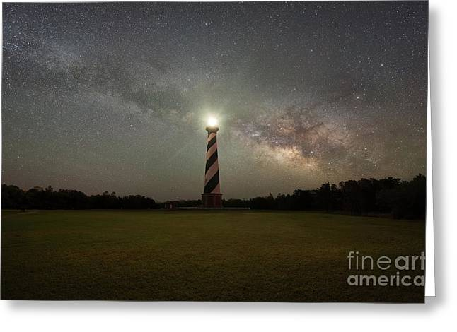 Cape Hatteras Light Under The Milky Way Galaxy Greeting Card