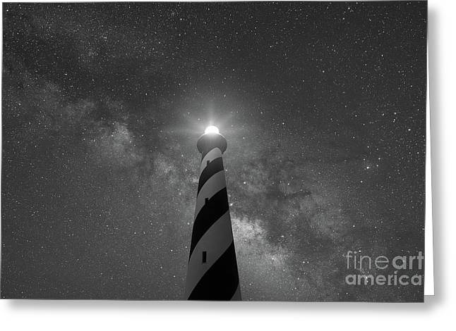 Cape Hatteras Light Under The Night Sky  Greeting Card