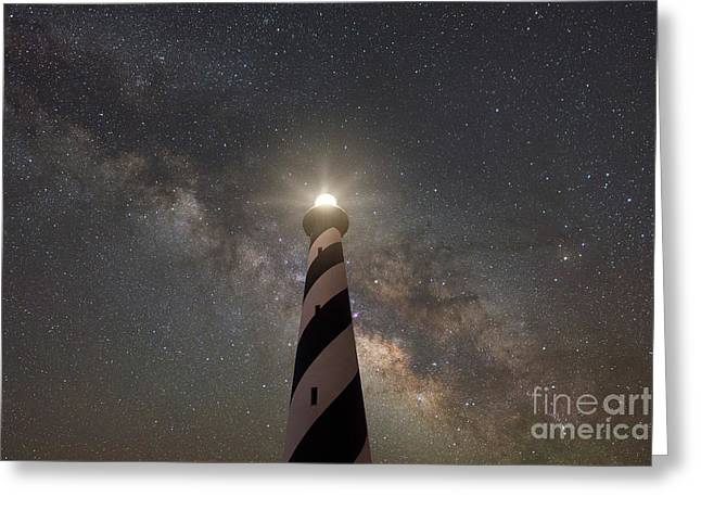 Cape Hatteras Light Under The Stars  Greeting Card