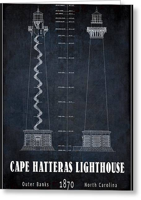 Cape Hatteras Lighthouse Blueprint Greeting Card