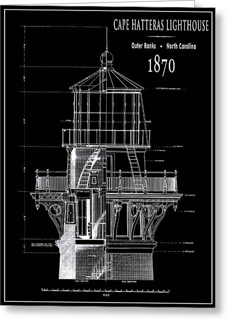Cape Hatteras Lighthouse Engineering Drawing 1869 Greeting Card