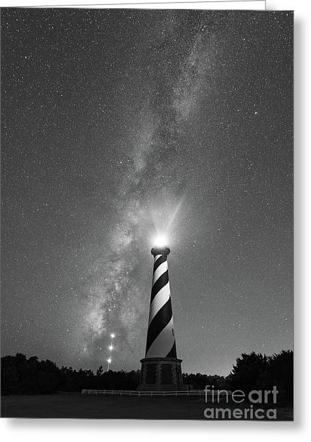 Cape Hatteras Lighthouse Milky Way Bw Greeting Card