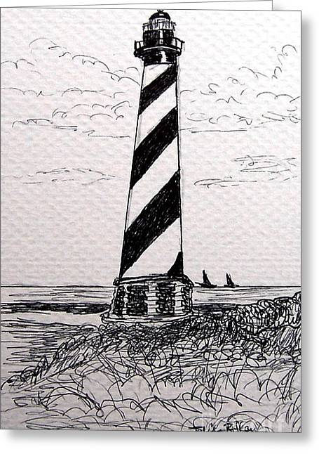 Greeting Card featuring the drawing Cape Hatteras Lighthouse Nc by Julie Brugh Riffey