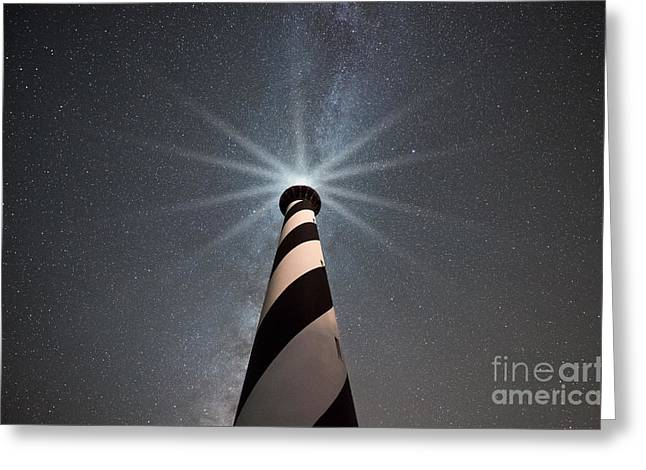 Cape Hatteras Lighthouse Under The Stars Greeting Card