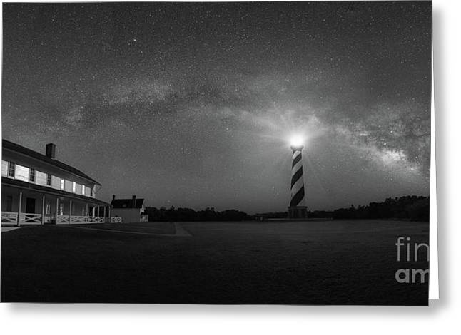 Cape Hatteras Milky Way Pano Bw Greeting Card