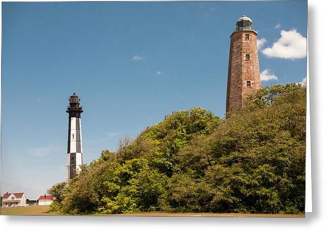 Cape Henry Lighthouses Old And New Greeting Card