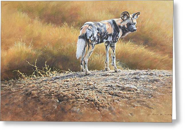 Greeting Card featuring the painting Cape Hunting Dog by Alan M Hunt