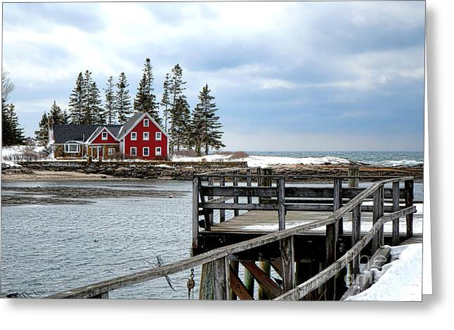 Cape Island From Newagen Greeting Card