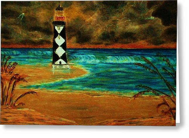 Cape Lookout Light House Greeting Card by Jeanette Stewart