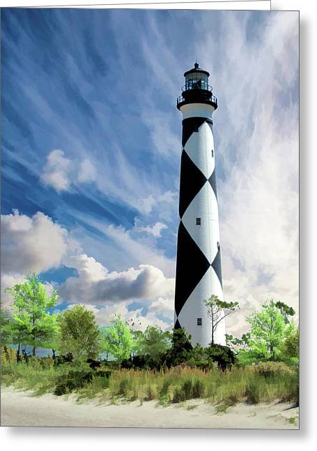 Greeting Card featuring the painting Cape Lookout Lighthouse by Christopher Arndt