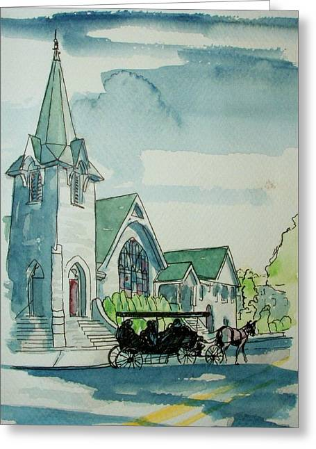 Cape May Carriage Color Greeting Card by George Lucas