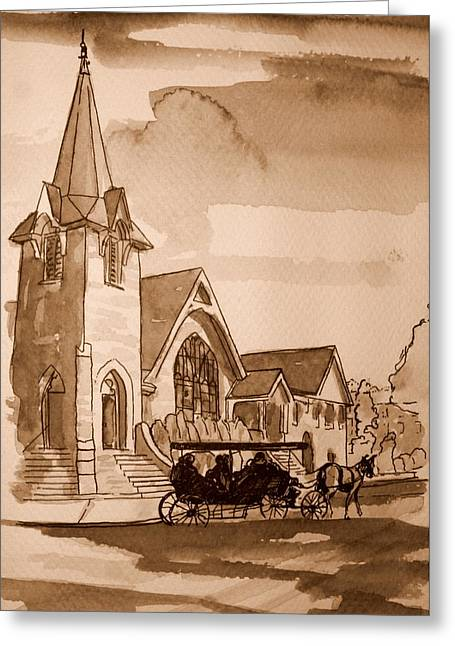 Cape May Carriage Sepia Greeting Card by George Lucas