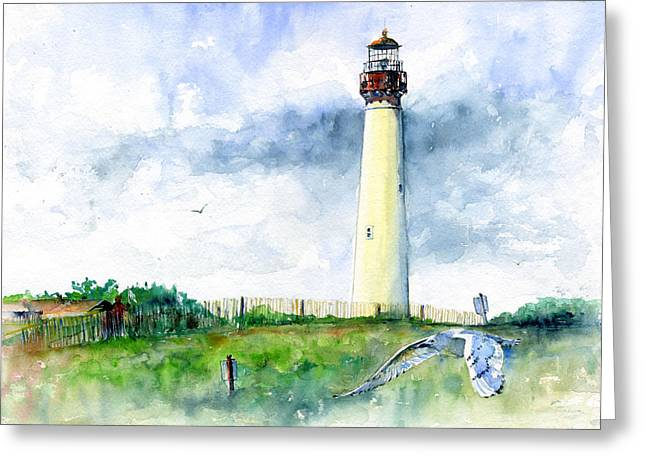 N.j. Greeting Cards - Cape May Lighthouse Greeting Card by John D Benson