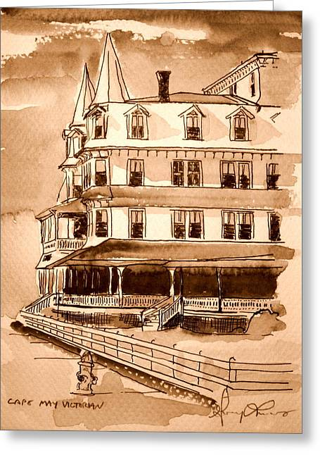 Cape May Victorian Sepia Greeting Card by George Lucas