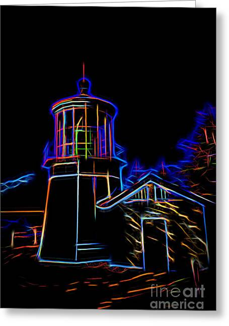 Cape Meares Lighthouse At Night Greeting Card