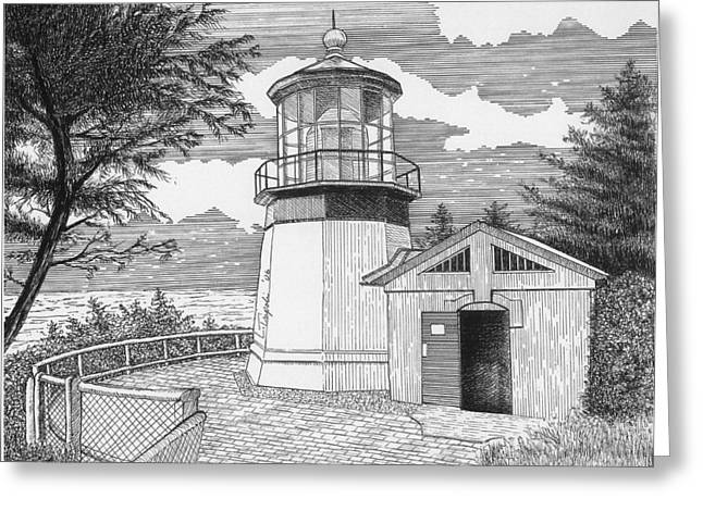 Cape Meares Lighthouse Greeting Card by Lawrence Tripoli