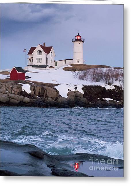 Cape Neddick Light At Dusk, York, Maine 21073 Greeting Card