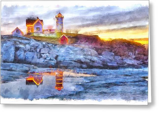 Cape Neddick Light Watercolor Greeting Card