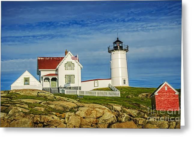 Cape Neddick Lighthouse Greeting Card by Charles Dobbs
