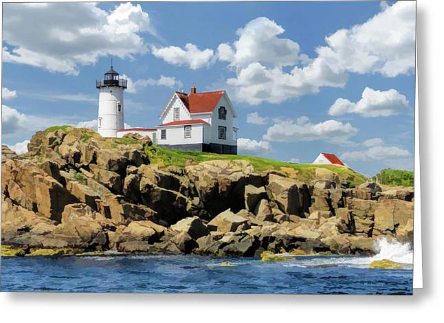Greeting Card featuring the painting Cape Neddick Lighthouse by Christopher Arndt