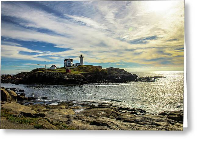 Cape Neddick Lighthouse Greeting Card by Sherman Perry