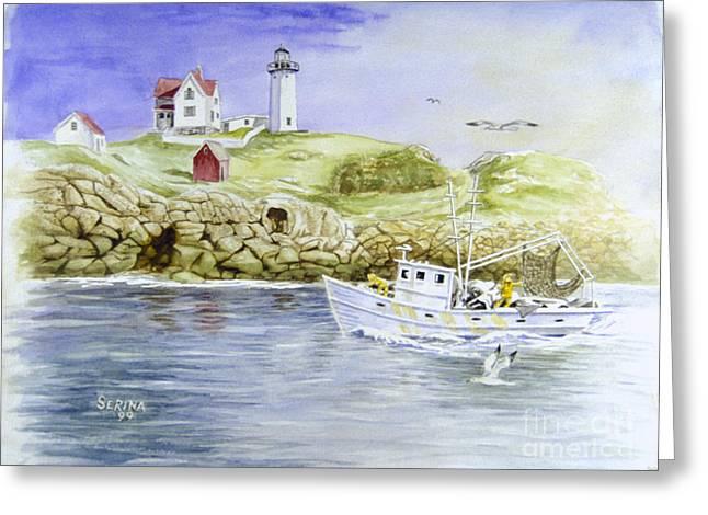 Cape Neddick Lighthouse Greeting Card by Stephen Serina