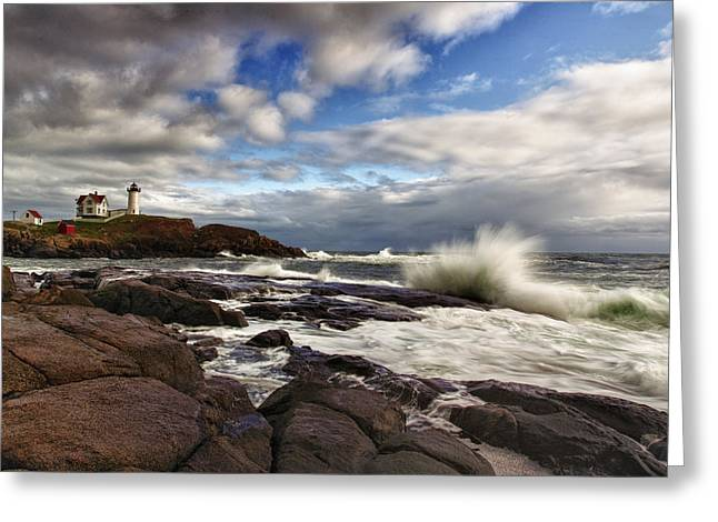 Maine Lighthouses Photographs Greeting Cards - Cape Neddick Maine Greeting Card by Rick Berk