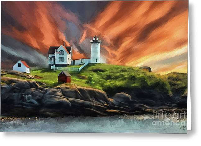 Greeting Card featuring the digital art Cape Neddick Nubble Lighthouse by Lois Bryan