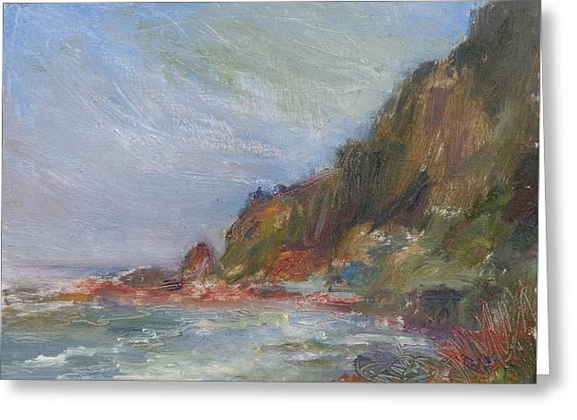 Cape Perpetua - Original Impressionist Contemporary Coastal Painting Greeting Card by Quin Sweetman