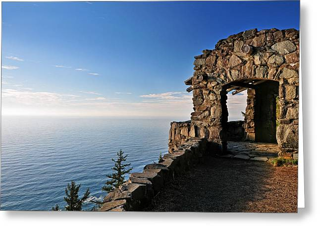 Greeting Card featuring the photograph Cape Perpetua Stone Shelter by Lara Ellis