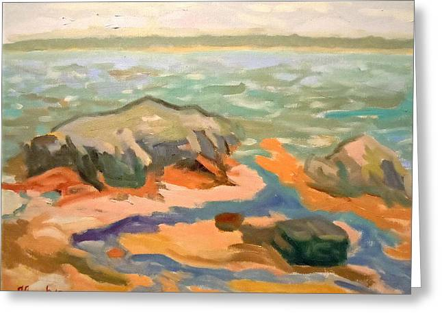 Greeting Card featuring the painting Cape Rosier Beach by Francine Frank