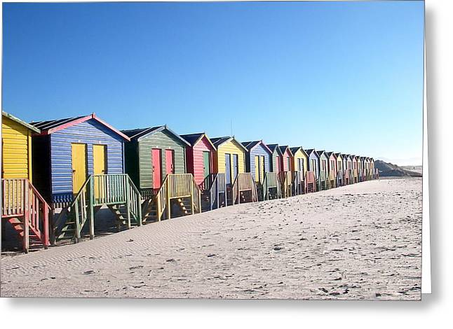 Cape Town Beachhuts Greeting Card by Linda Russell