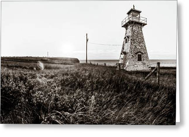 Greeting Card featuring the photograph Cape Tryon Light - Bw by Chris Bordeleau