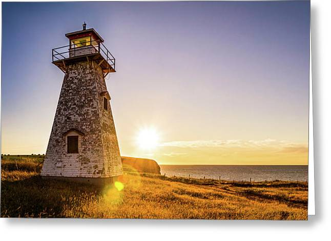 Greeting Card featuring the photograph Cape Tryon Light Sunset by Chris Bordeleau
