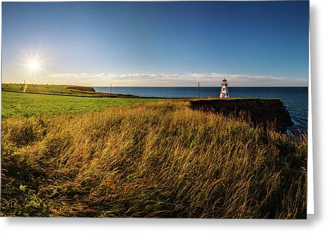 Greeting Card featuring the photograph Cape Tryon Lighthouse Sunset by Chris Bordeleau