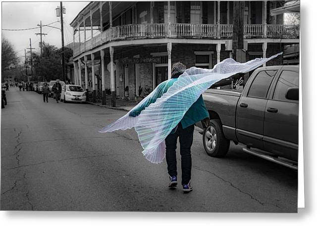 Caped Street Dancer On Frenchmen Street Greeting Card