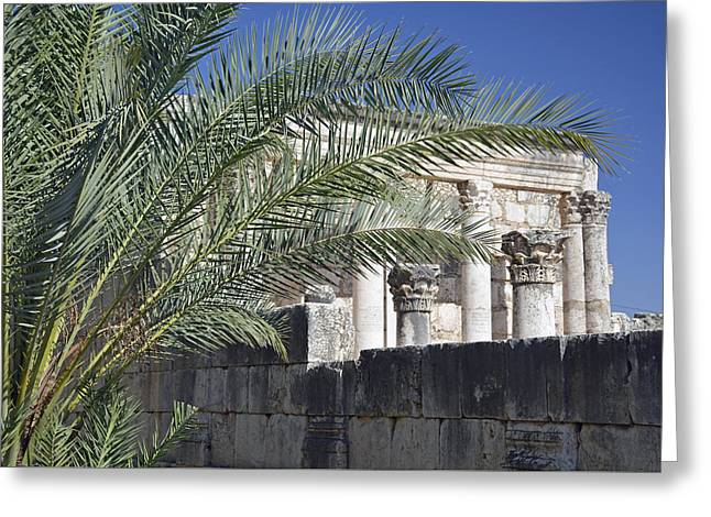 Caperaum Synagogue Ruins In Israel Greeting Card by Bruce Gourley