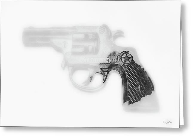 Capgun Artifact Monocrhome Print Greeting Card by Tony Grider
