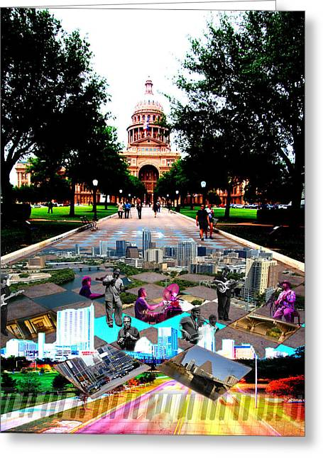 James R Granberry Greeting Cards - Capital Collage Austin Music Greeting Card by James Granberry