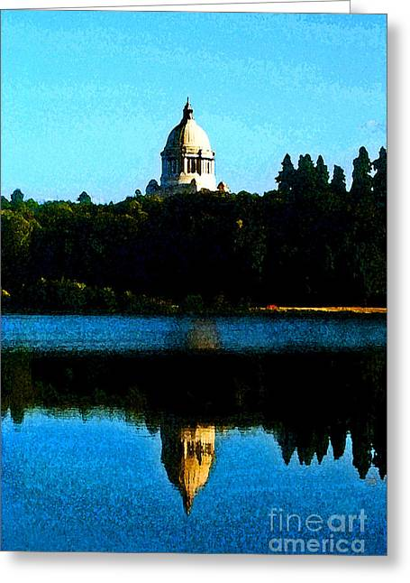 Greeting Card featuring the photograph Capital Lake by Larry Keahey