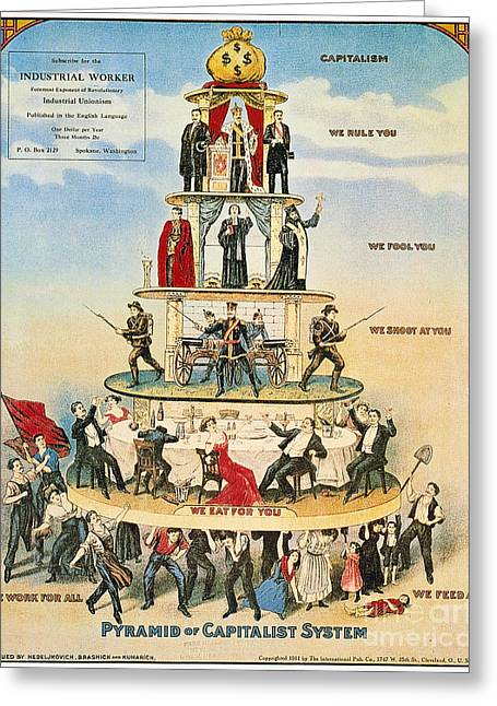 Texting Photographs Greeting Cards - Capitalist Pyramid, 1911 Greeting Card by Granger