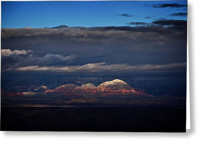 Greeting Card featuring the photograph Capitol Butte In Sedona With Snow by Ron Chilston
