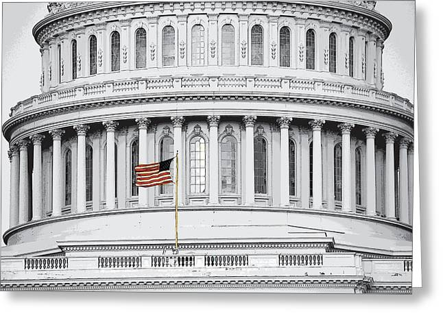 Greeting Card featuring the photograph Capitol Flag by John Schneider