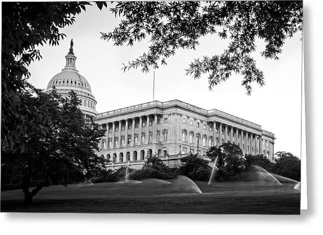 Capitol Lawn In Black And White Greeting Card by Greg Mimbs