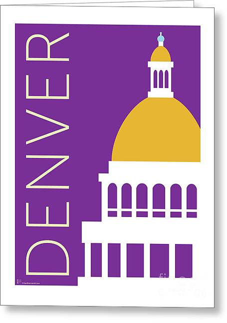 Greeting Card featuring the digital art Denver Capitol/purple by Sam Brennan