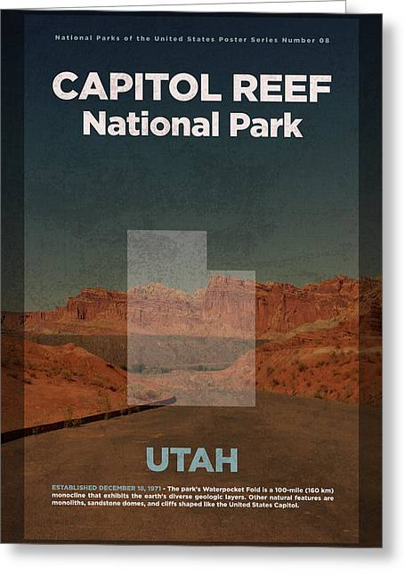 Capitol Reef National Park In Utah Travel Poster Series Of National Parks Number 08 Greeting Card by Design Turnpike