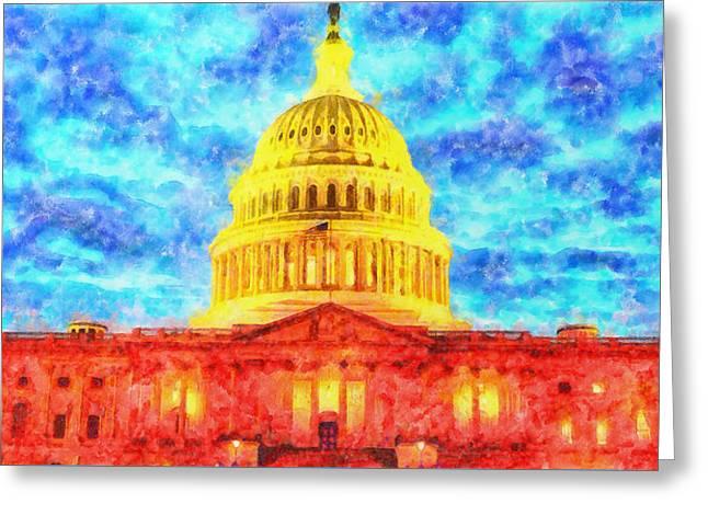 Capitol  - Watercolor -  - Da Greeting Card